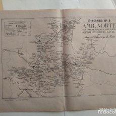 Cartes géographiques contemporaines: MAPA CORREOS - ITINERARIO N. 4 - MEDINA DEL C., BURGOS, VALLADOLID, LA VID, ARANDA DE DUERO, VER FOT. Lote 241969195