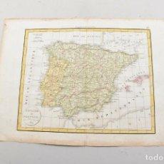 Cartes géographiques contemporaines: ANTIGUO MAPA GRABADO, ESPAÑA & PORTUGAL, COLOREADO, 1829. Lote 243102860