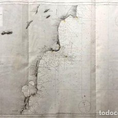 Mapas contemporáneos: CARTA NÁUTICA ANTIGUA SIGLO XIX ALICANTE CABO ROIG CABO HUERTAS 1888 DIRECCIÓN HIDROGRAFIA. Lote 243332980