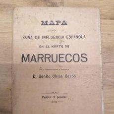 Mapas contemporâneos: MAPA DE LA ZONA DE INFLUENCIA ESPAÑOLA EN EL NORTE DE MARRUECOS - B. CHIAS CARBÓ - BARCELONA - 1918. Lote 243470120