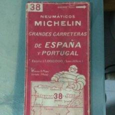 Cartes géographiques contemporaines: MAPA NEUMATICOS MICHELIN. GRANDES CARRETERAS DE ESPAÑA Y PORTUGAL. Nº 38.. Lote 245104870