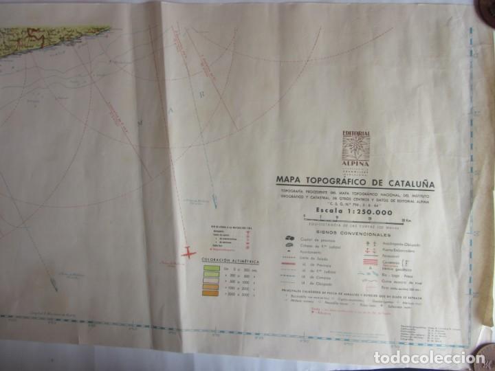 Mapas contemporáneos: MAPA TOPOGRÁFICO DE CATALUNYA. ED. ALPINA. ESCALA 1:250.000 1964? ZONA DEL EBRO - Foto 4 - 245276460