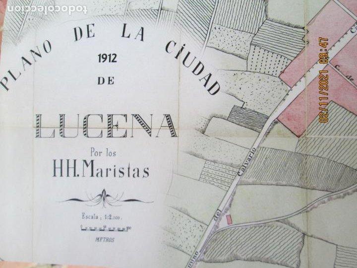 PLANO DE LA CIUDAD DE LUCENA - AÑO 1912 - HH. MARISTAS - MIDE 65X47 CM. (Coleccionismo - Mapas - Mapas actuales (desde siglo XIX))