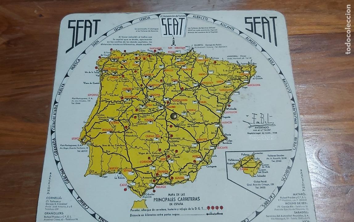 Mapas contemporáneos: Disco kilometrico seat mapa de las principales carreteras de españa año 1958 - Foto 3 - 245772245