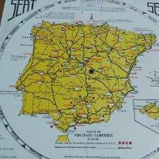Mapas contemporáneos: DISCO KILOMETRICO SEAT MAPA DE LAS PRINCIPALES CARRETERAS DE ESPAÑA AÑO 1958. Lote 245772245