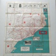 Mapas contemporáneos: MAPA CATALUÑA EN TELA SEIX BARRAL, AÑO 1928, CON PUBLICIDAD HISPANO SUIZA, SAURER, GRANJA LA RICARDA. Lote 247290720