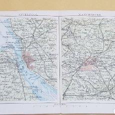 Mapas contemporáneos: LIVERPOOL Y MANCHESTER ALREDEDORES MAPA N°18 POCKET ATLAS 16 X 12 CENTÍMETROS. Lote 252937475