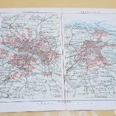 Mapas contemporáneos: GLASGOW Y EDIMBURGO ALREDEDORES MAPA N°21 POCKET ATLAS 16 X 12 CENTÍMETROS. Lote 252940310