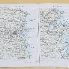 Mapas contemporáneos: DUBLÍN Y BELFAST ALREDEDORES MAPA N°23 POCKET ATLAS 16 X 12 CENTÍMETROS. Lote 252940805