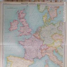 Mapas contemporáneos: GRABADO ORIGINAL DEL SURVEY ATLAS. J.G. BARTHOLOMEW,LONDRES. 1920.WESTERN EUROPE, POLITICAL. Lote 253304825