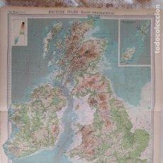 Mapas contemporáneos: GRABADO ORIGINAL DEL SURVEY ATLAS. J.G. BARTHOLOMEW, LONDRES.1920.BRITISH ISLES, OROGRAPHICAL. Lote 253305930