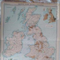 Mapas contemporáneos: GRABADO ORIGINAL DEL SURVEY ATLAS. J.G. BARTHOLOMEW,LONDRES.1920. BRITISH ISLES. RAILWAYS&INDUSTRIAL. Lote 253307170