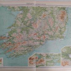 Mapas contemporáneos: GRABADO ORIGINAL DEL SURVEY ATLAS. J.G. BARTHOLOMEW, LONDRES.1920. IRELAND-SOUTHERN SECTION. Lote 253311420