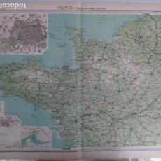 Mapas contemporáneos: GRABADO ORIGINAL DEL SURVEY ATLAS. J.G. BARTHOLOMEW, LONDRES.1920. FRANCE. NORTH-WESTERN SECTION. Lote 253318315