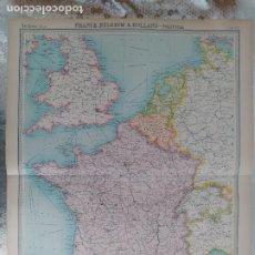 Mapas contemporâneos: GRABADO ORIGINAL DEL SURVEY ATLAS. J.G. BARTHOLOMEW, LONDRES.1920. FRANCE. BELGIUM&HOLLAND. Lote 253319580