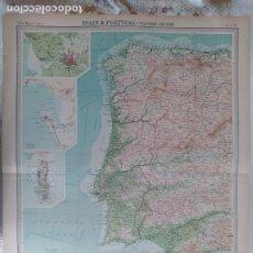 Mapas contemporáneos: GRABADO ORIGINAL DEL SURVEY ATLAS. J.G. BARTHOLOMEW, LONDRES.1920. SPAIN&PORTUGAL, WESTERN SECTION. Lote 253319885