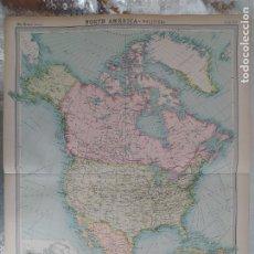 Mapas contemporáneos: GRABADO ORIGINAL DEL SURVEY ATLAS. J.G. BARTHOLOMEW, LONDRES.1920. NORTH AMERICA, POLITICAL MAP. Lote 253343360