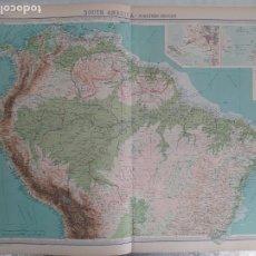 Mapas contemporáneos: GRABADO ORIGINAL DEL SURVEY ATLAS. J.G. BARTHOLOMEW, LONDRES.1920. SOUTH AMERICA, NORTHERN SECTION. Lote 253345930