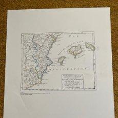 Mapas contemporáneos: * REINO DE VALENCIA * REPRODUCCIÓN * PARTIE...COURONNE D´ARAGON / ROBERT DE VAUGONDY - PARÍS 1749. Lote 254349825