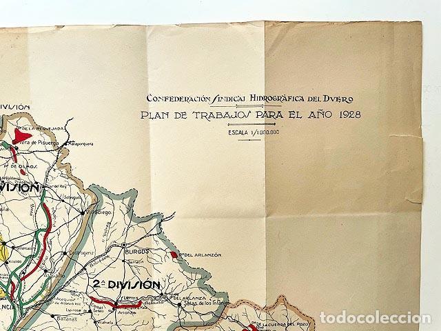 Mapas contemporáneos: Confederación Sindical Hidrográfica del Duero (Mapa plegado. 1928. Escala 1/1.000.000. color - Foto 2 - 255521525