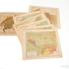 Mapas contemporáneos: 7 MAPAS ANTIGUOS DE ATLAS ARTERO DEL AÑO 1900, LÁMINAS ENCICLOPEDIA, LAMINAS VINTAGE. Lote 255924605