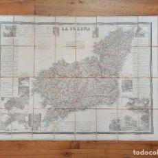 Mapas contemporáneos: MAPA CORUÑA, SANTIAGO COMPOSTELA, GALICIA, COELLO, ORIGINAL, MADRID,1865, MAPA ENTELADO, GRAN TAMAÑO. Lote 261855730