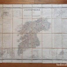 Mapas contemporáneos: MAPA PONTEVEDRA, VIGO, GALICIA, COELLO, ORIGINAL, MADRID,1856, MAPA ENTELADO, GRAN TAMAÑO Y ESTADO. Lote 261855760