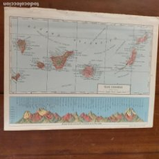 Cartes géographiques contemporaines: ANTIGUO MAPA O PLANISFERIO DE ATLAS PARA ENMARCAR - ESPAÑA ISLAS CANARIAS MONTAÑAS PENINSULA ALTURA. Lote 263045705