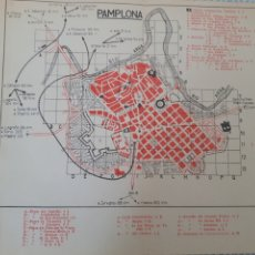 Mapas contemporâneos: MAPA PLANO VINTAGE 50'S PAMPLONA. Lote 264516114