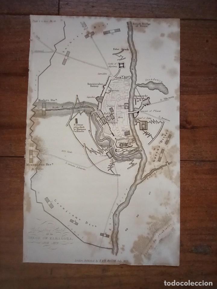 INFRECUENTE MAPA SITIO ZARAGOZA 1808 Y 1809, GUERRA INDEPENDENCIA, ORIGINAL, 1829. LONDRES, NAPIER. (Coleccionismo - Mapas - Mapas actuales (desde siglo XIX))