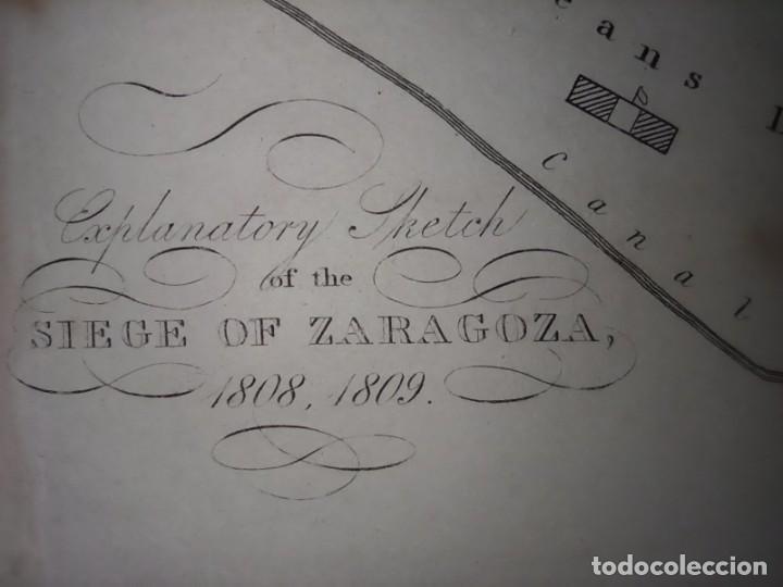 Mapas contemporáneos: INFRECUENTE MAPA SITIO ZARAGOZA 1808 Y 1809, GUERRA INDEPENDENCIA, ORIGINAL, 1829. LONDRES, NAPIER. - Foto 2 - 265360564