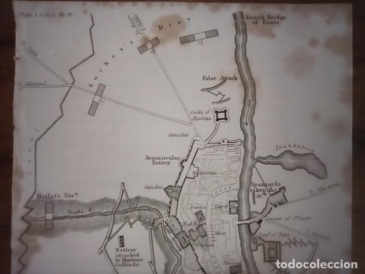 Mapas contemporáneos: INFRECUENTE MAPA SITIO ZARAGOZA 1808 Y 1809, GUERRA INDEPENDENCIA, ORIGINAL, 1829. LONDRES, NAPIER. - Foto 3 - 265360564