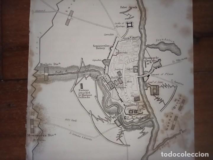 Mapas contemporáneos: INFRECUENTE MAPA SITIO ZARAGOZA 1808 Y 1809, GUERRA INDEPENDENCIA, ORIGINAL, 1829. LONDRES, NAPIER. - Foto 4 - 265360564
