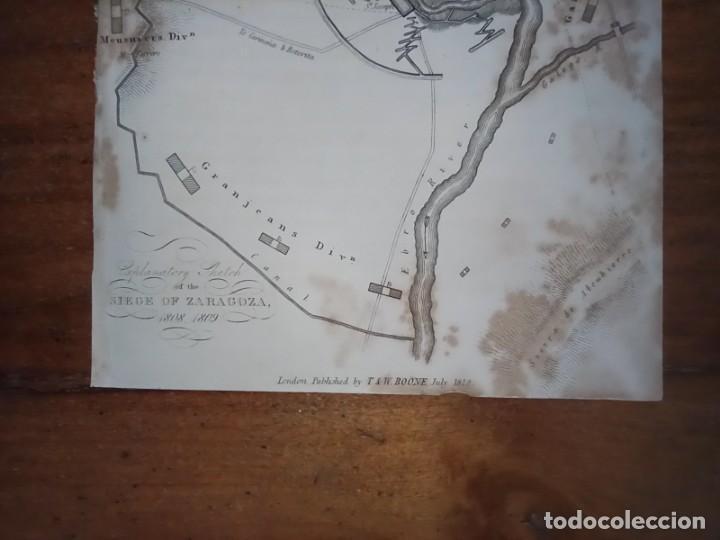 Mapas contemporáneos: INFRECUENTE MAPA SITIO ZARAGOZA 1808 Y 1809, GUERRA INDEPENDENCIA, ORIGINAL, 1829. LONDRES, NAPIER. - Foto 5 - 265360564