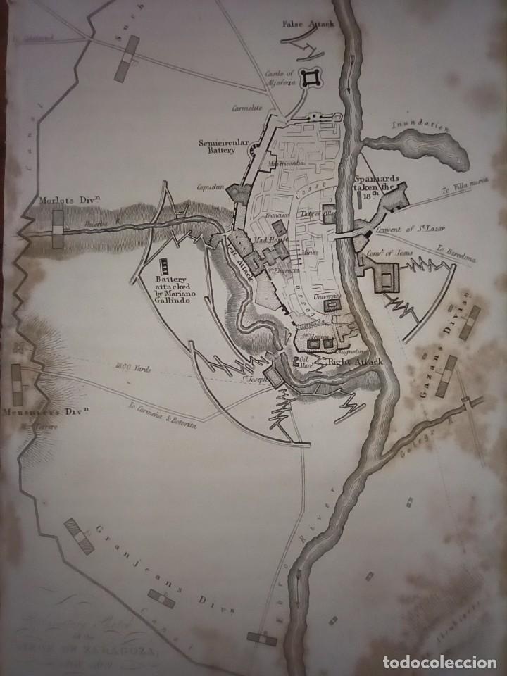 Mapas contemporáneos: INFRECUENTE MAPA SITIO ZARAGOZA 1808 Y 1809, GUERRA INDEPENDENCIA, ORIGINAL, 1829. LONDRES, NAPIER. - Foto 6 - 265360564