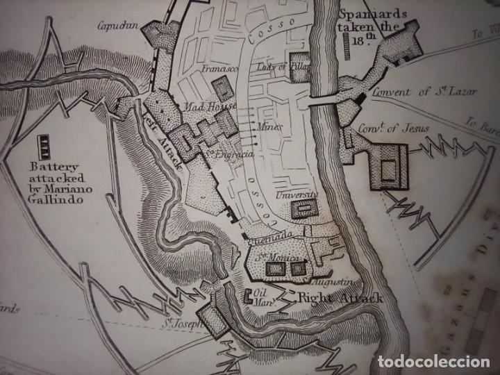 Mapas contemporáneos: INFRECUENTE MAPA SITIO ZARAGOZA 1808 Y 1809, GUERRA INDEPENDENCIA, ORIGINAL, 1829. LONDRES, NAPIER. - Foto 8 - 265360564