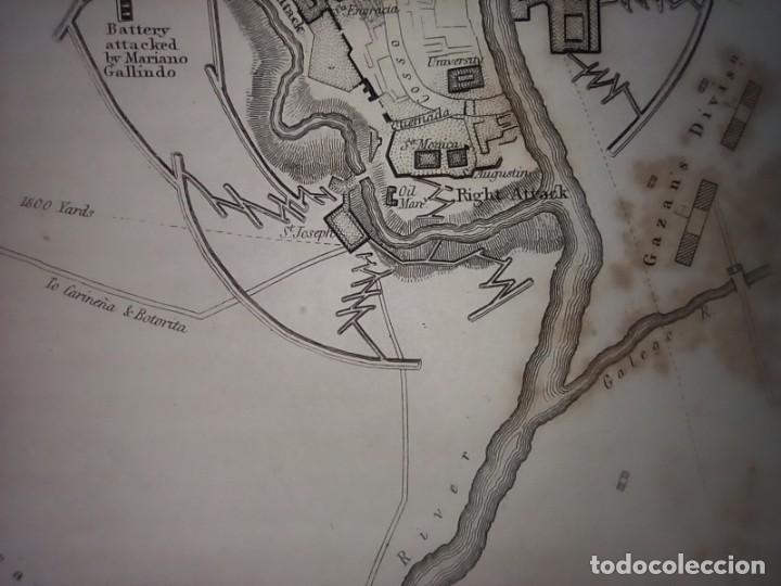 Mapas contemporáneos: INFRECUENTE MAPA SITIO ZARAGOZA 1808 Y 1809, GUERRA INDEPENDENCIA, ORIGINAL, 1829. LONDRES, NAPIER. - Foto 9 - 265360564
