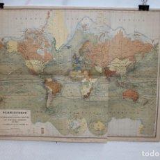 Mapas contemporáneos: MAPA MUNDIAL GRABADO POR E. MORIEU. PUBLICADO POR CH. BOURET. 55,5 CM. X 70 CM.. Lote 267201949