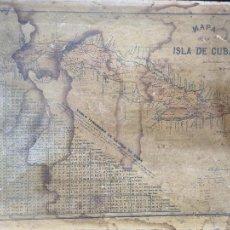 Mapas contemporáneos: MUY ANTIGUO MAPA DE LA ISLA DE CUBA EN TELA ORIGINAL SIGLO XIX. Lote 268951274