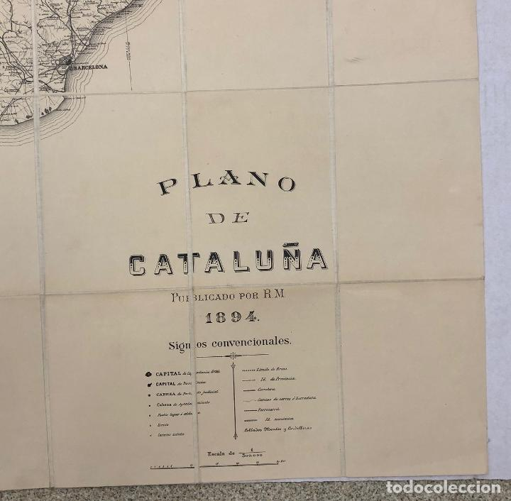 Mapas contemporáneos: PLANO DE CATALUÑA PUBLICADO POR R.M. 1894. ESCALA 1:300.000. REVERSO ENTELADO. RAMON MORERA - Foto 2 - 269620403