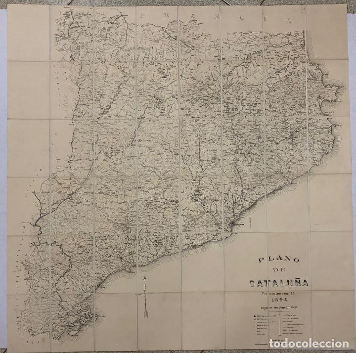 PLANO DE CATALUÑA PUBLICADO POR R.M. 1894. ESCALA 1:300.000. REVERSO ENTELADO. RAMON MORERA (Coleccionismo - Mapas - Mapas actuales (desde siglo XIX))