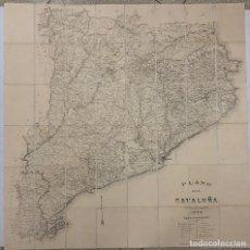 Mapas contemporáneos: PLANO DE CATALUÑA PUBLICADO POR R.M. 1894. ESCALA 1:300.000. REVERSO ENTELADO. RAMON MORERA. Lote 269620403
