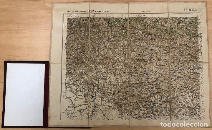 CARTE DE FRANCE DRESSEE AU DEPOT DES FORTIFICATIONS. AÑO 1887. 4 MAPAS, EN ESTUCHE ORIGINAL (Coleccionismo - Mapas - Mapas actuales (desde siglo XIX))