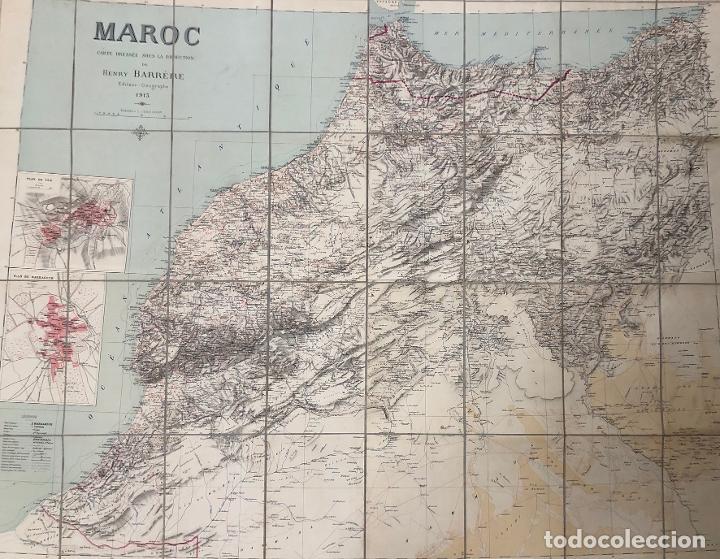 Mapas contemporáneos: MAPA MARRUECOS. MAROC. CARTE DRESSEE SOUS LA DIRECTION DE HENRY BARRERE. 1913. EN ESTUCHE ORIGINAL - Foto 3 - 269628468