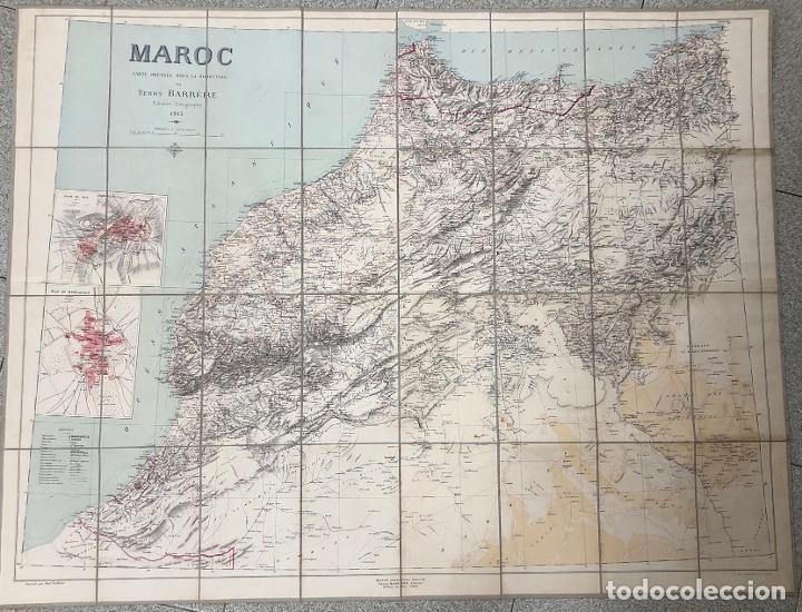 MAPA MARRUECOS. MAROC. CARTE DRESSEE SOUS LA DIRECTION DE HENRY BARRERE. 1913. EN ESTUCHE ORIGINAL (Coleccionismo - Mapas - Mapas actuales (desde siglo XIX))