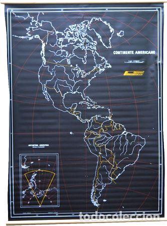 MAPA MURAL CONTINENTE AMERICANO PIZARRA NEGRO PARA TIZA (Coleccionismo - Mapas - Mapas actuales (desde siglo XIX))