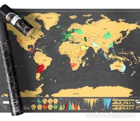 MAPA PARA RASPAR VIAJE MAPAMUNDI SCRATCH DELUXE 82X59 GRANDE (Coleccionismo - Mapas - Mapas actuales (desde siglo XIX))