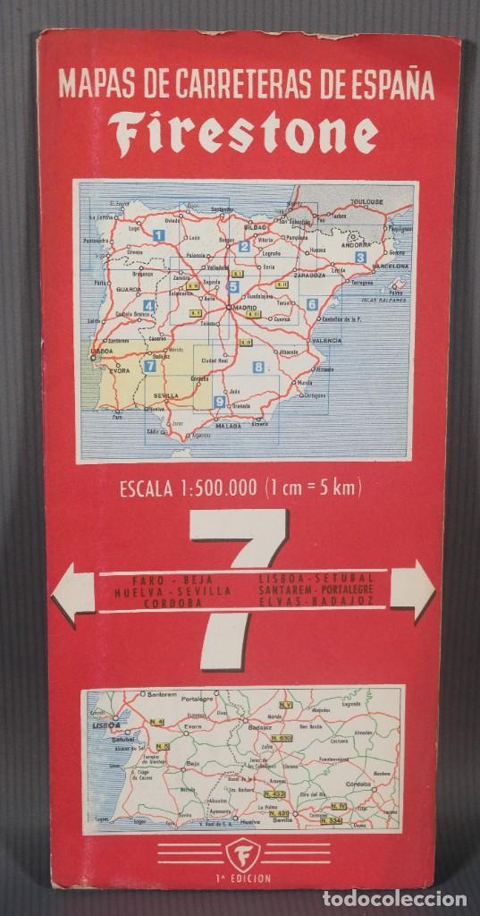 MAPAS DE CARRETERAS DE ESPAÑA FIRESTONE - NÚMERO 7, PRIMERA EDICIÓN AÑOS 50 (Coleccionismo - Mapas - Mapas actuales (desde siglo XIX))