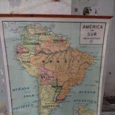 Mapas contemporáneos: ANTIGUO MAPA ESCOLAR POLÍTICO DE AMÉRICA DEL SUR (SURAMÉRICA) EN COLOR - AÑOS 60. Lote 275236228