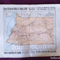 Cartes géographiques contemporaines: 1930´S, MAPA DE MUNI, BAILLY-BAILLIÈRE Y RIERA REUNIDOS, BARCELONA, UNOS 36 X 28 CMS. Lote 275508958